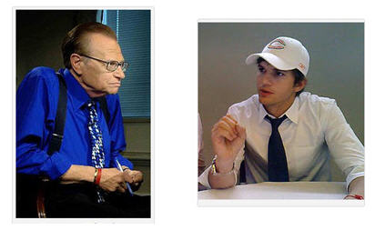 Larry King via Wikipedia; Ashton Kutcher via Flickr