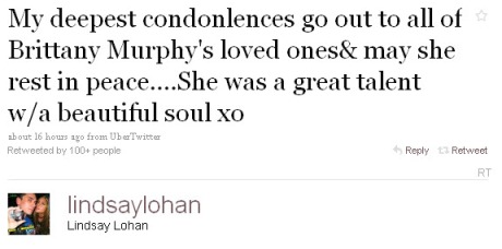 Lindsay Lohan on Brittany Murphy via Twitter