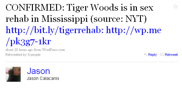 Jason Calacanis on Tiger Woods via Twitter