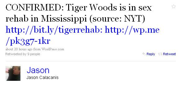 Jason Calacanis on Tiger Woods via Twitter