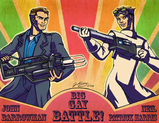 John Barrowman and Neil Patrick Harris in #BigGayBattle (art by Jean Kang)