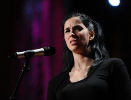 Sarah Silverman on stage at TED2010 (via ted.com)